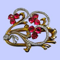 1930's - 1940's Large Floral Brooch