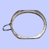 Etched Sterling Silver Hinged Bracelet/Bangle