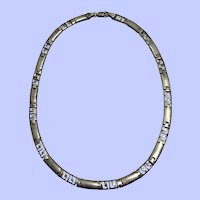 Sterling Silver Panel Link Necklace