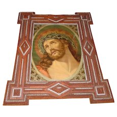 c,1900 Chip Carved Tramp Art Frame With Chromolithography Jesus Print