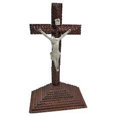 c. 1900 Standing Tramp Art Cross With Bisque Jesus