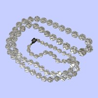 Long Graduated Faceted Clear Rock Crystal Necklace c. 1930's