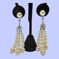 Vintage Faux Pearls Dangling Post Back Earrings
