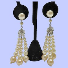 Vintage Faux Pearls Dangling Post Back Earrings