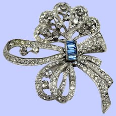Sweet Art Deco Rhinestone Bow Pin/Brooch