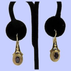 c.1880's 18K Etruscan Style Earrings with Garnets