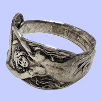 Sterling Silver Spoon Ring With Female Figure Size 8