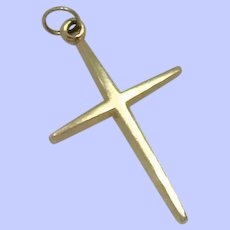 14K Yellow Gold Streamlined Cross Pendant