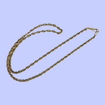 """14K Yellow Gold Loose Weave Rope Chain Necklace, 19 1/2"""", 2.6 mm"""