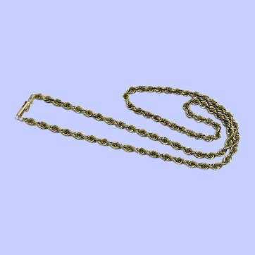 """14K Yellow Gold Rope Chain Necklace 16 1/2"""", 3.8 mm"""