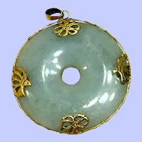 Vintage 14K and Pale Green Jade Medallion Pendant