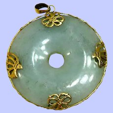 Vintage 14K and Pale Green Jade Medallion Pendant