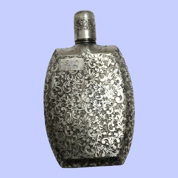Early 1950's Chased Sterling Silver Hip Flask, Japan