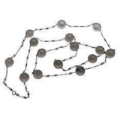 Vintage Long Pools of Light Rock Crystal and Sterling Silver Necklace