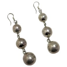 Sterling Silver Graduated Drop Ball Earrings
