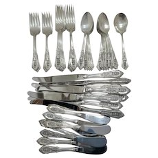 "46 Pieces Wallace Sterling Silver ""Rose Point"" Flatware"