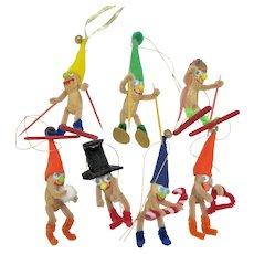 Set of 7 Vintage Figural Peanut Christmas Ornaments