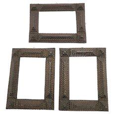 Group of 3 Antique Tramp Art Chip Carved Wood Frames