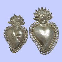 Pair Religious 19th Century Sacred Heart of Jesus Ex Voto Offerings