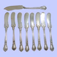 Set of 8 Plus Master Sterling Silver Gorham Chantilly Flat Butter Knives