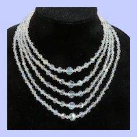 Vintage 5 Strand Aurora Borealis Crystal Necklace