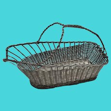 Vintage Silver Plate Woven Wine Basket