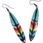 Multi Colored Inlaid Stone Feather Dangle Earrings