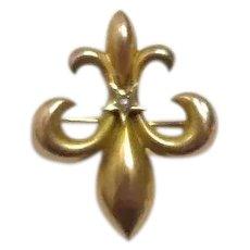 14K Seed Pearl Fleur De Lis Brooch or Watch Holder