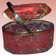 Late 1800's Austrian Crystal Casket with Sterling Lid