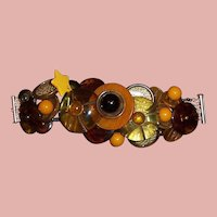 Vintage Bakelite/Lucite Button Bracelet with Sterling Clasp