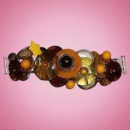 Vintage Bakelite/Lucite Button Bracelet with Sterling Clasp