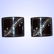 Vintage Art Deco Lucite and Rhinestone Shoe Buckles