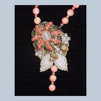 Beaded Angel Skin Coral Necklace With Ornate Centerpiece