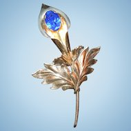 Vintage Sterling Silver Lily Brooch with Blue Glass Stone