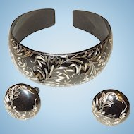 Vintage Sterling Silver and Black Enamel Cuff Bracelet and Earrings