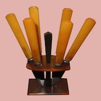 Set of 6 Bakelite Dessert Knives in Rack