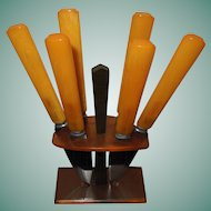 Set of 6 Bakelite Dessert Knives in Rack