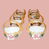 Set of 8 German Hand Painted Nut Cups Perfect