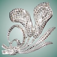 c.1920's Sterling Silver and Marcasite Double Lily Brooch