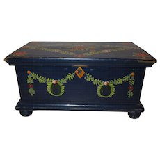 """Hold for Tracey"". 1890 Miniature Hand Painted German Chest"