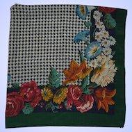 "Vintage Silk Scarf  34"" Square"