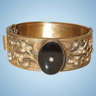 C.1900 Ornate Hinged Bracelet With Onyx Centerpiece
