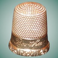 "14K Gold Thimble Size 8, ""Bertha"""