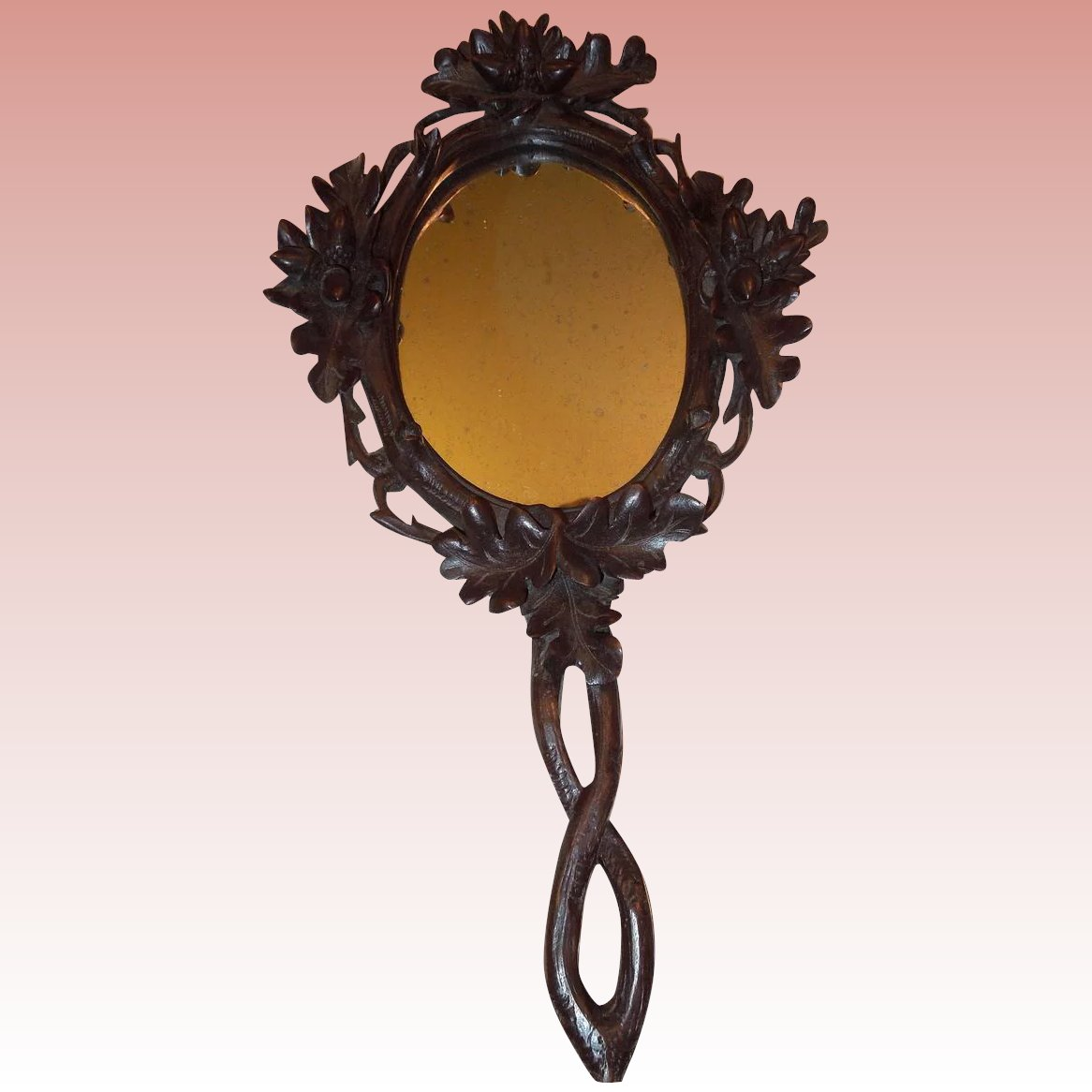 Beautiful Black Forest Carved Wooden Hand Mirror C 1890