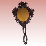 Beautiful Black Forest Carved Wooden Hand Mirror c.1890-1900