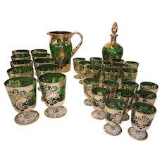Vintage Venetian Murano Glass Set Sterling Overlay