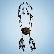 C. 1900 Jet Glass Mourning Necklace & Earrings