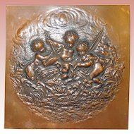 Hammered Copper Panel With 3 Cherubs