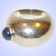 Assymetrical Sterling Silver and Lapis Ring Size 6