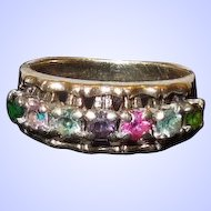 Mother's Ring with 7 Colored Gemstones 10K